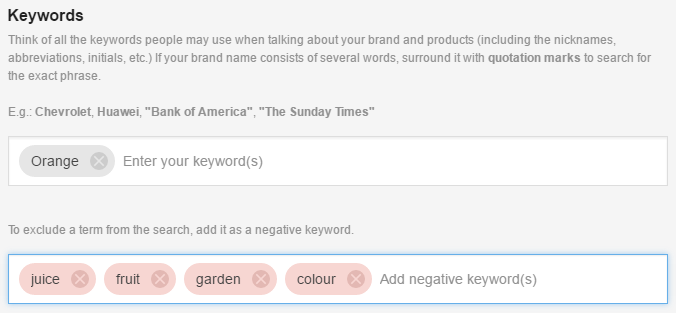 orange negative keywords