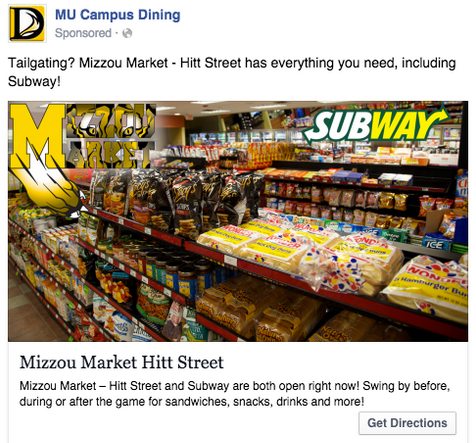 Mizzou facebook ad