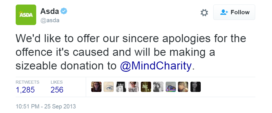 Asda apology