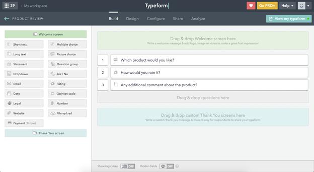TypeForm لوحة القيادة